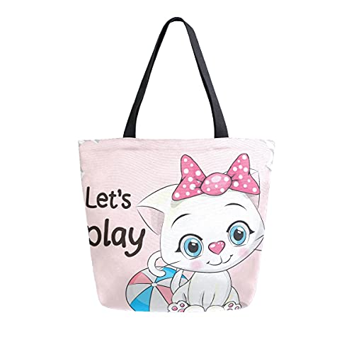 AHYLCL Let's Play Cute Cat Print Tote Bag Canvas Shoulder Bag Reusable Large Multipurpose Use Handbag for Work School Shopping Outdoor