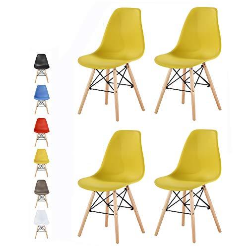 mcc direct Set of 4 Modern Design Dining Chairs Retro Lounge Chairs, LA (Yellow)