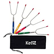 """KelvZ Set of 4 Telescoping Marshmallow Roasting Sticks with Bag & Smore Recipes Ebook - 34"""" Smores Skewers for Fire Pit - City Bonfire Marshmellow Sticks Camping Equipment - Hot Dog Fork for Campfire"""