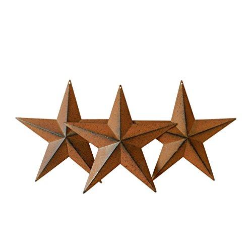 CVHOMEDECO. Rustikale Antik Rustikal Vintage Geschenke Rusty/Black Metal Barn Star Wand/Tür Dekor, 20.3 cm, 3er Set.