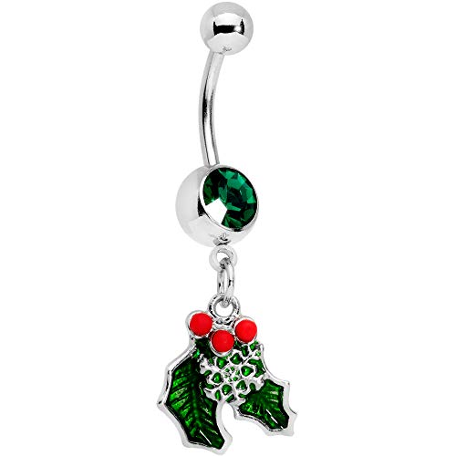 Body Candy 14G 12mm 316L Steel Navel Ring Green Accent Winter Snow Mistletoe Belly Button Ring 1/2'