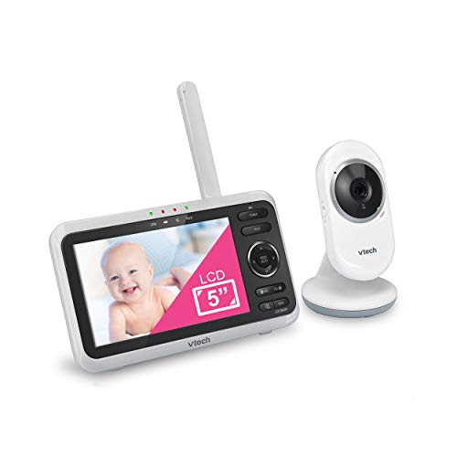 "VTech VM350 Video Baby Monitor with 5"" Screen, Long Range, Invision Infrared Night Vision, Two Way Talk, Auto On Screen, Soothing Sounds and Lullabies, Temperature Sensor"