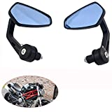 Universal Aluminum, Mirror Glass Bar End Rear View Mirrors Motorcycle Handlebar Side View Mirrors for Bike (2138985, Black)