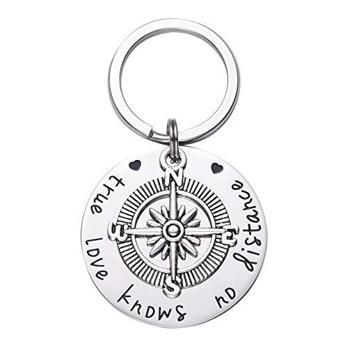 True Love Knows No Distance Compass Keychain Best Friend Keychain Boyfriend Girlfriend Long Distance Relationship Gifts