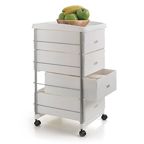 Metaltex BASEL - Carro multiuso para cocina y baño con cuatro cestos extraíbles, 35x41x72 cm