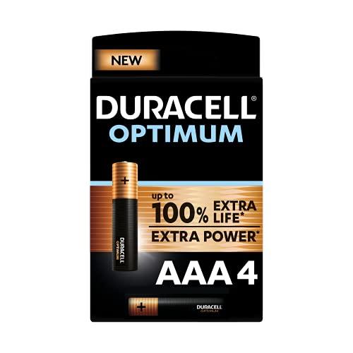 Duracell - NUEVO Pilas alcalinas Optimum AAA , 1.5 Voltios LR03 MX2400, paquete de 4