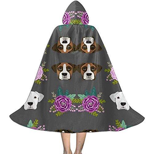 Kinder Cape Mantel Hood Crazy Boxer Hund Köpfe Holzkohle Blumen Halloween Kostüme Cosplay Uhr