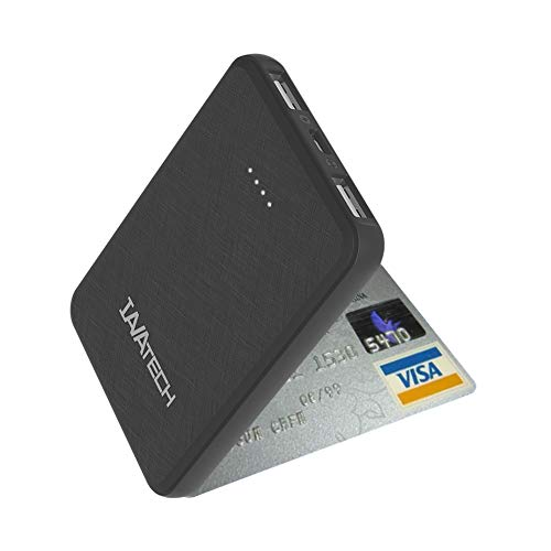 IAVATECH Powerbank 5000mAh Portable Externer Akku Kompakte Super Leicht Slim 2 Ausgänge Powerbank Handy Ladegerät für Smartphones, Handy, ipad usw (in Schwarz)