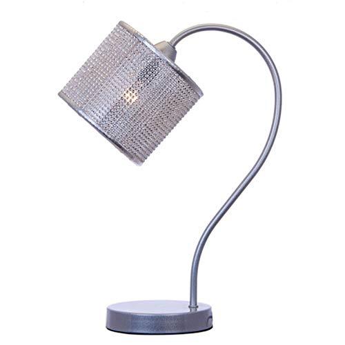 lounge-zone Design Tischlampe Tischleuchte Nachttischlampe Nachttischleuchte Lampe Leuchte Leselampe Leseleuchte Schreibtischlampe Schreibtischleuchte SILVERSTAR Lampenschirm Chrom silber Strass Steine 7865