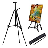 Display Easel Stand for Art Artist,Adjustable 52-162 cm,with Carry Bag, AOBETAK Aluminum Small Portable Easels for Picture/Poster/Wedding, for Artists Kids Adults Sketching Painting, Black