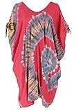 Guru-Shop, Caftano Plus Size Batik, Abito da Spiaggia, Tunica per Donne Forti, Rosso Lampone, Sintetico, Dimensione Indumenti:44, Vestiti Corti