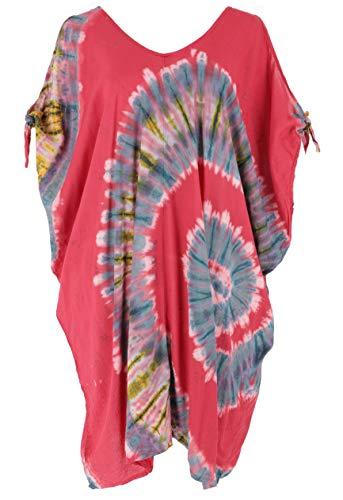 GURU SHOP Kaftán batik - Vestido de playa para mujeres fuertes, color marrón, sintético, talla:...
