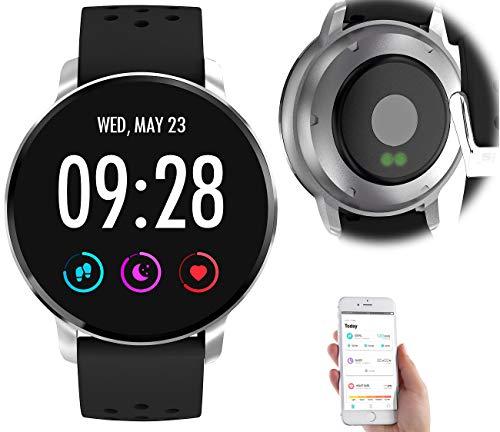 newgen medicals Sport-Uhr: Fitness-Uhr mit Herzfrequenz-Messung, Bluetooth, Edelstahl, IP67 (Uhr mit Nachrichtenanzeige)