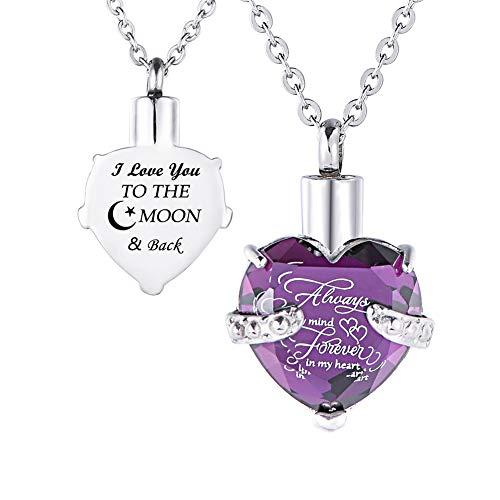 HooAMI[ホーアムアイ] メモリアルペンダント 防水仕様 遺骨ペンダント ハート ネックレス レディース メンズ ステンレス I Love you TO THE MOON & Back(紫)