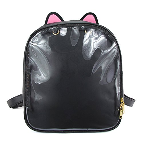 SteamedBun Cat Ita Bag Ears Candy Leather Ita Backpack Girls Transparent Window School Pins Bag
