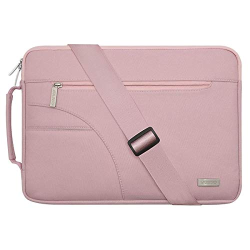 MOSISO Laptop Schultertasche Kompatibel mit 13-13,3 Zoll MacBook Pro, MacBook Air, Notebook Computer, Polyester Flapover Bote Aktentasche Sleeve Hülle Laptoptasche, Rosa