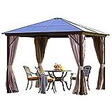 WSN 2021 Neuer Hardtop-Pavillon für Terrassen im Freien, 4-Jahreszeiten-Sun Shelter-Halterung aus Aluminiumlegierung mit Sichtschutzvorhängen und Net Terrace-Markise,3mx4m