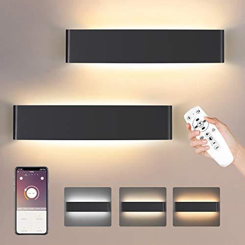 2 Pack Smart LED Wandleuchte Innen,Wandlampe LED mit Fernbedienung & Bluetooth APP 3000K-6000K Warmweiß/kaltweiß/Neutralweiß Dimmbar 20W 1800LM 40CM(Schwarz)
