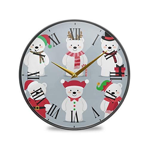 Oso De Nieve De Navidad Arte Reloj de Pared Silencioso Decorativo Relojs para Niños Niñas Cocina Hogar Oficina Escuela Decoración