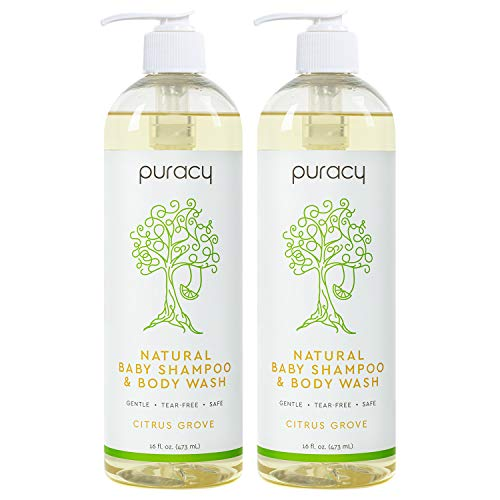 Puracy Natural Shampoo & Body Wash, Plant-Derived Baby Shampoo & Baby Wash, Gentle Soap for Sensitive Skin, Tear-Free, 16 Fl Oz (2-Pack)