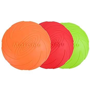 KATELUO 3 Pièces Frisbees pour Chien, Disque Volant pour Chien, Frisbee Jouet en Caoutchouc, Frisbee Chien Resistant and Flottant, Parfait pour Le Lancer de Chien, Formation, Jouer et Attraper (15cm)