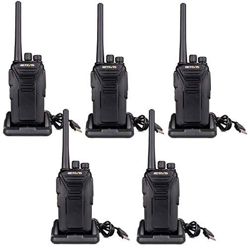 Retevis RT27 Funkgerät Walkie Talkie 16 Kanäle PMR Funkgeräte Set Lizenzfrei VOX CTCSS/DCS Notfallalarm Wiederaufladbar Walkie Talkie mit USB Ladeschale (5 Stk., Schwarz)