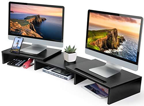 HUANUO dual Monitor Stand Bildschirmständer für Monitore, Laptop, Computer bis zu 10Kg, schwenkbar und mit volleinstellbarer Länge, 104 × 26.9 × 9.9 cm, Schwarz