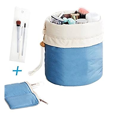 Portable Travel Toiletry Cosmetic Bag - Mr.Pro Waterproof Travel Kit Organizer Bathroom Storage Makeup Drawstring Bag Carry On Case (Cylinder Blue)