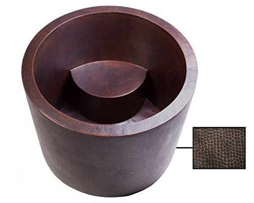 Soluna Copper Japanese Soaking Tub in Rio Grande Finish - Ofuro Style Freestanding Double Wall Copper Bathtub - Contemporary Hammered Copper Bathtub with Seat - 14 Gauge Copper Standalone Soaker Tub