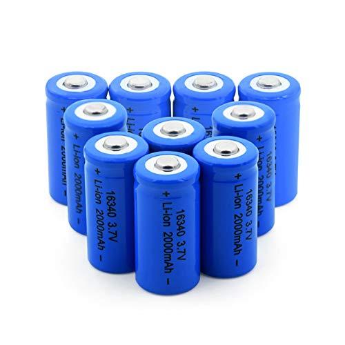 WSXYD 16340 Batería De Litio De 3.7v 2000mah, Celda De Iones De Litio Recargable para Cr123a Cr17345 K123a Vl123a Dl123a 5018lc 10pcs