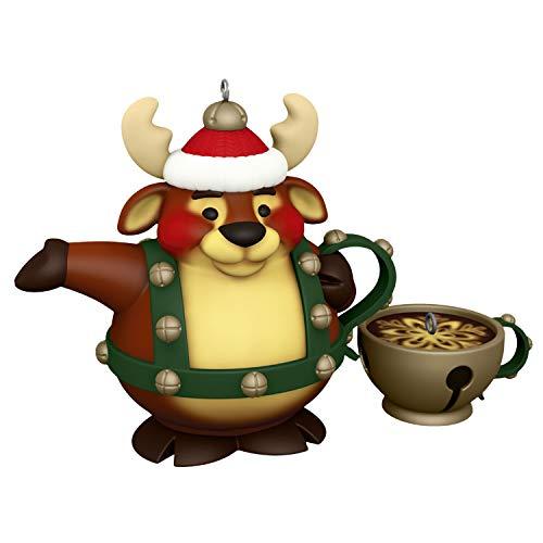 Hallmark Keepsake Christmas Ornaments 2020, Tea Time! Reindeer Teapot and Jingle Bell Teacup, Porcelain, Set of 2