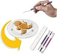Banveno 6インチ クッキーデコレーションターンテーブル ノンスリップパッド1個とフォンダンデコレーションツール3個付き クリアアクリル ケーキシュガーアイシングクッキーツール