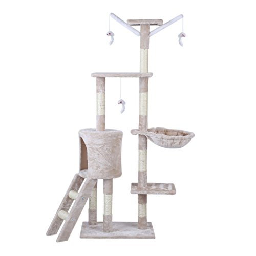 ICOCO Cat scratching post cat tree cat kitten climbing tower with Rope and Hammock Scratches Bed Tree Climbing Toy Activity Center Play Tower House Home Decorative Fuiniture (Beige 143cm)