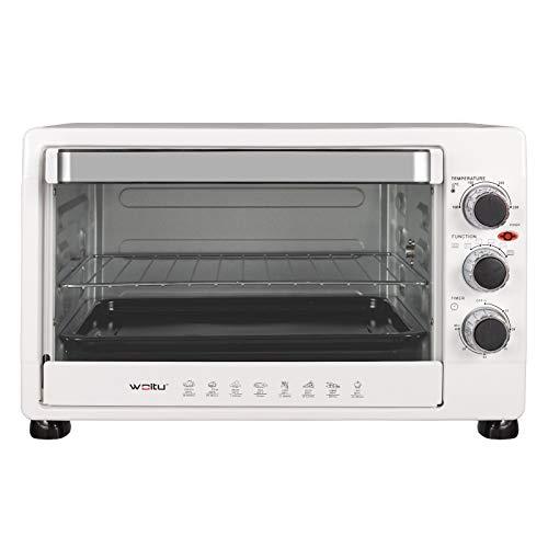 WOLTU BF12ws Mini Backofen 32 Liter, 1600 Watt Toasterofen | Pizzaofen | Herausnehmbares Krümelblech mit Timer Minibackofen für Pizza, Toast, Truthahn, Hot Dogs Weiß