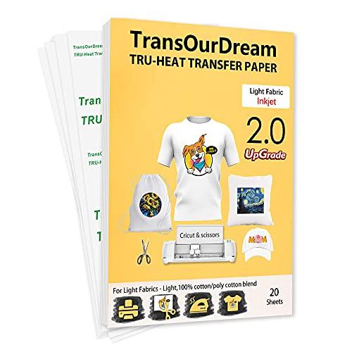 TransOurDream Real - Papel de Transferencia Fácil de Usar. Sin Impresión de Espejo (A4x20 Hojas)Papel Transfer Para Camisetas Blancas y Tejitos Claros Plancha Térmica Camiseta,20 hojas,A4. ES-2-20