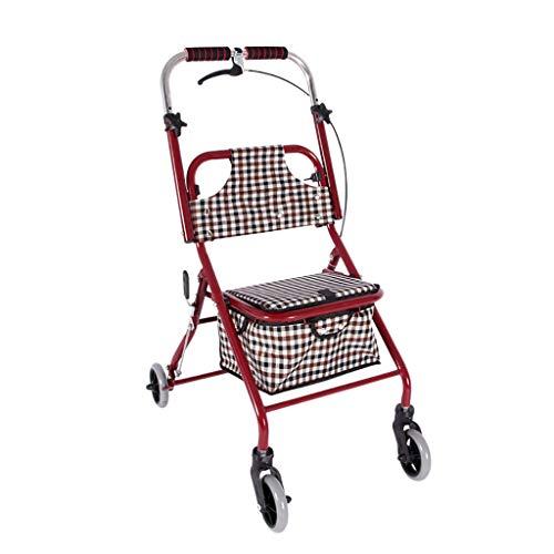 Rollator con asiento y ruedas plegables para personas mayores, Drive Medical Rollator de cuatro ruedas con freno de mano de seguridad, bandeja de caminante plegable de altura ajustable carrito de la c