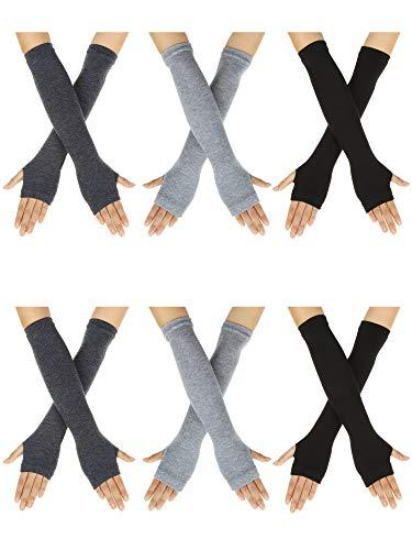 SATINIOR 6 Paar Frauen Lange Fingerlose Handschuhe Armlinge Stricken Daumenloch Dehnbare Handschuhe (Farbe Set 4)