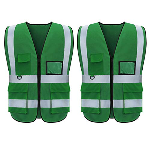 Shmimy Reflective Vest Class 2 Safety Vests ANSI with 5 Pockets Zipper High Visibility Uniform for Work XL 2XL (XL, Green-2 Pack)