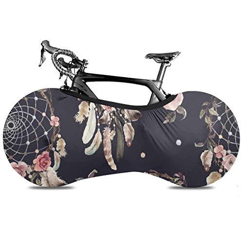 Funda de bicicleta clásica con plumas de pavo real para interior antipolvo y alta elasticidad, cubierta protectora de rueda de bicicleta para parada de neumáticos de carretera MTB bolsa de almacenamiento, Atrapasueños, talla única