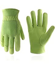 Skórzane rękawice ogrodnicze dla kobiet, siatka 3D komfortowe dopasowanie - poprawia zręczność i oddychalność, odporność na zarysowania świńska rękawice robocze ogrodowe do warzyw lub przycinania róż