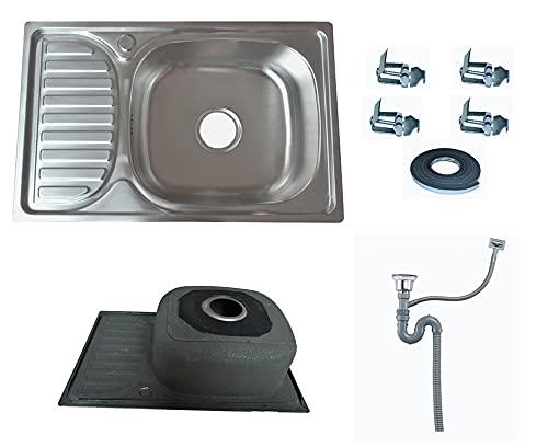 Omeere - Fregadero pequeño de 65 x 42 x 17 cm, de acero inoxidable 304, 0,8 mm, 1 seno, fregadero empotrable de acero inoxidable, fregadero de cocina, cuadrado, 1 seno, para camping, jardín