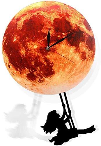 SXXXIT Reloj de Pared Golden Moon Péndulo Reloj de Pared Columpio en la Luna Espacio Galaxy Decoración para el hogar Supermoon Reloj de Luna Llena con péndulo oscilante Silencioso Fácil de Leer