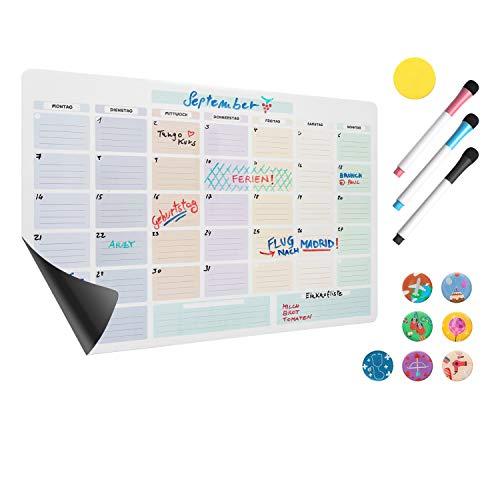 Amazy magnetischer Monatskalender inkl. 3 Marker, 7 Magnete und Radierer – Abwischbarer Kühlschrank Kalender für einen organisierten Monat inklusive Event-Magnete, Marker und Radierer