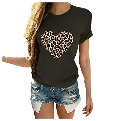 Cheapest Prices! Boomboom Women's Valentine's Day Leopard Print Shirts Summer Stylish Casual Short S...