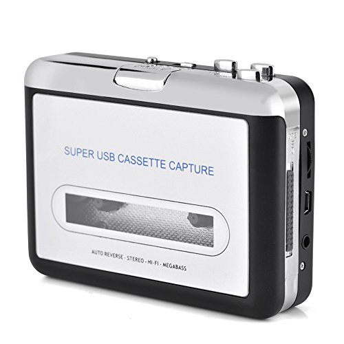 Zerone Tragbarer Audiokassettenkonverter, USB-Kassette zu MP3-Kassettenrecorder mit CD-Kopfhörern