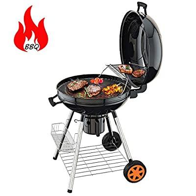 TACKLIFE Charcoal Grill, Portable Barbecue Grill 22.5-inch, Double Layer Grid, Clamshell, 2 Wheels, Outdoor for Camping, CG01A