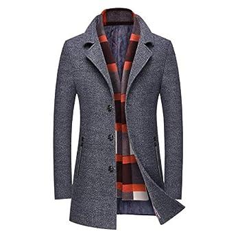 INVACHI Men s Slim Fit Winter Warm Short Woolen Coat Business Jacket with Free Detachable Soft Touch Wool Scarf