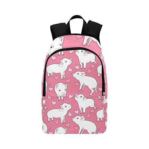 NANA College Student Bag Pink Cute Funny Animal Pig Flower Durable Water Resistant Classic Casual Bag for Women Best Daypack Bookbag Zipper College Backpack