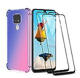 GOGME Funda para Motorola Moto E7 Plus/Moto G9 Play + 2 Cristal Templado, Carcasa Transparente TPU Ultra Slim Flexible Suave Silicona TPU Bumper, Reforzar la Cuatro Esquinas Case Cover (Azul/Pink)