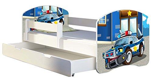 Kinderbett Jugendbett mit einer Schublade und Matratze Weiß ACMA II 140 160 180 40 Design (180x80 cm + Bettkasten, 38 Polizei)